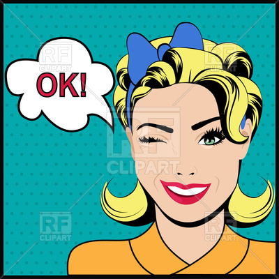 400x400 Pop Art Winking Woman With Speech Bubble Royalty Free Vector Clip
