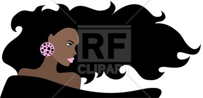 400x193 Portrait Of Black Beautiful Woman With Long Hair Royalty Free