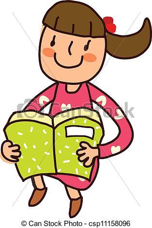 314x470 Portrait Of Girl Holding Book Eps Vectors