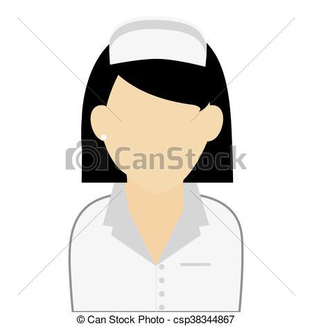 450x470 Simple Flat Design Nurse Portrait Icon Vector Illustration Clip