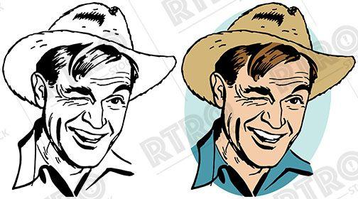 504x280 A Winking Man Wearing A Straw Farmer's Hat Vintage Retro Clipart