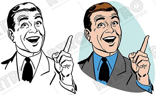 504x306 An Excited Businessman Pointing Upwards And Smiling Vintage Retro