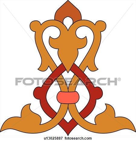 450x470 Orange And Red Arabesque Design View Large Clip Art Graphic