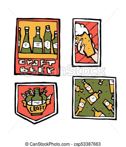 404x470 Beer Pub Posters, Stickers, Emblems. Beer Cups. Clip Art Vector
