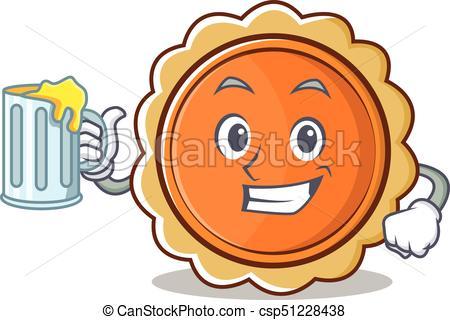 450x320 With Juice Pumpkin Pie Character Cartoon Vector Illustration