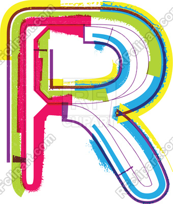 340x400 Colorful Grunge Letter R Royalty Free Vector Clip Art Image