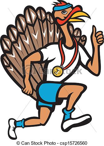 334x470 Turkey Run Runner Thumb Up Cartoon. Illustration Of A Wild Clip