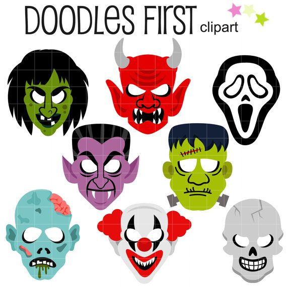 570x571 Scary Halloween Masks Clip Art For Scrapbooking Card Making