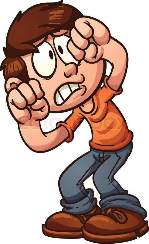 491x800 Scared Face Scared Cartoon Boy Protecting His Face Vector Clip Art