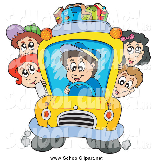 600x620 Clip Art Of School Children And Driver On A School Bus By Visekart