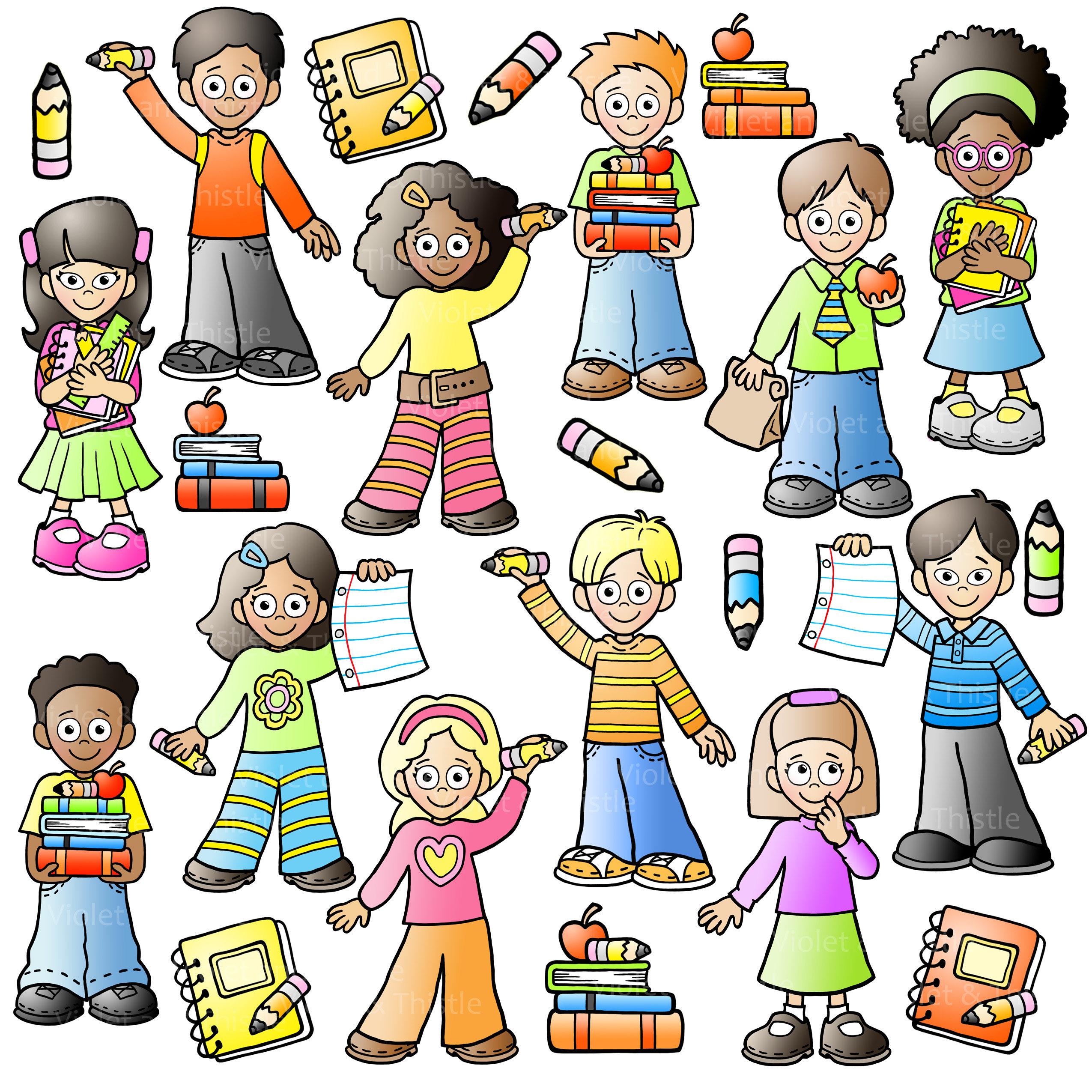 2550x2550 Back To School Kids Clipart Line Art Clip Art Combo Children