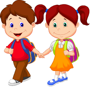 320x320 Clip Art Of Red Haired And Blond White School Children Holding Boy