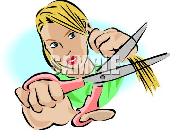 350x268 Girl Cutting Her Hair With Scissors