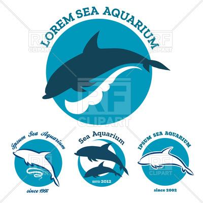 400x400 Set Of Sea Aquarium Or Dolphinarium Emblem
