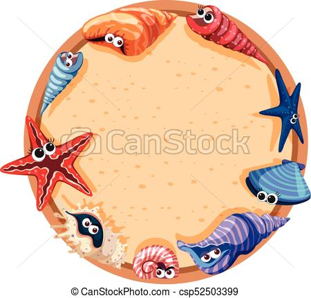 450x431 Round Frame Design With Seashells And Starfish Illustration Eps