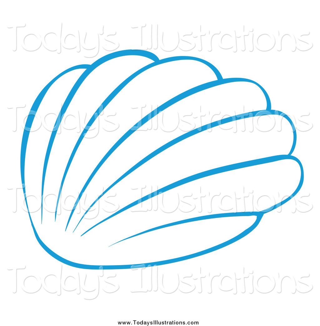 1024x1044 Clipart Of A Blue Sea Shell Simple Design By Graphics Rf