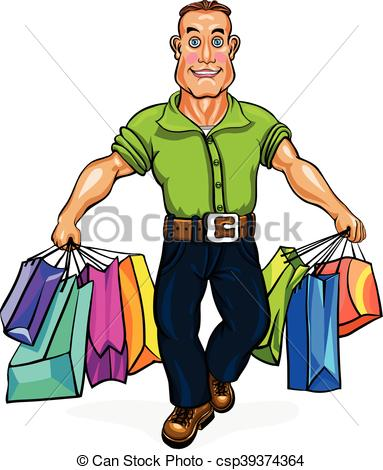 383x470 Go Shopping. A Man Carrying Shopping Bags. A Young Man Clip Art