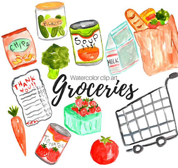 570x538 Groceries Clipart Watercolor Clip Art Shopping Clipart