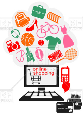 283x400 Online Shopping Design Royalty Free Vector Clip Art Image