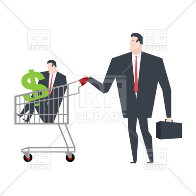 400x400 Business Family In Store Go Shopping. Manager In Cart. Vector