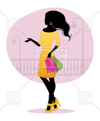 330x400 Silhouette Of Woman With Shopping Bags Royalty Free Vector Clip
