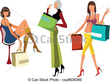 450x337 Three Vector Girls With Shopping Bags Clip Art Vector