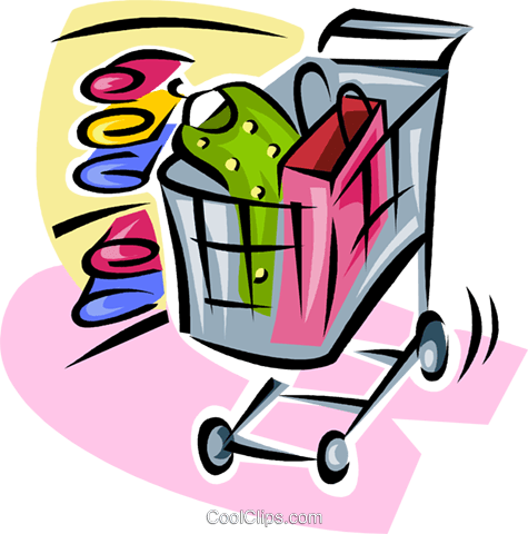 475x480 Shopping Cart With Clothing Items Royalty Free Vector Clip Art