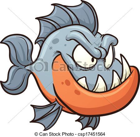 450x439 Cartoon Piranha. Vector Clip Art Illustration With Simple Clip