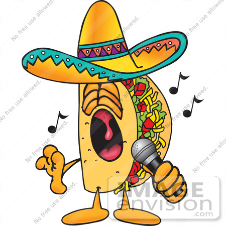 450x450 Clip Art Graphic Of A Crunchy Hard Taco Character Singing Loud