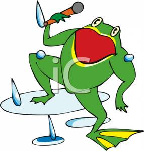 286x300 Clip Art Image A Frog Singing In The Rain