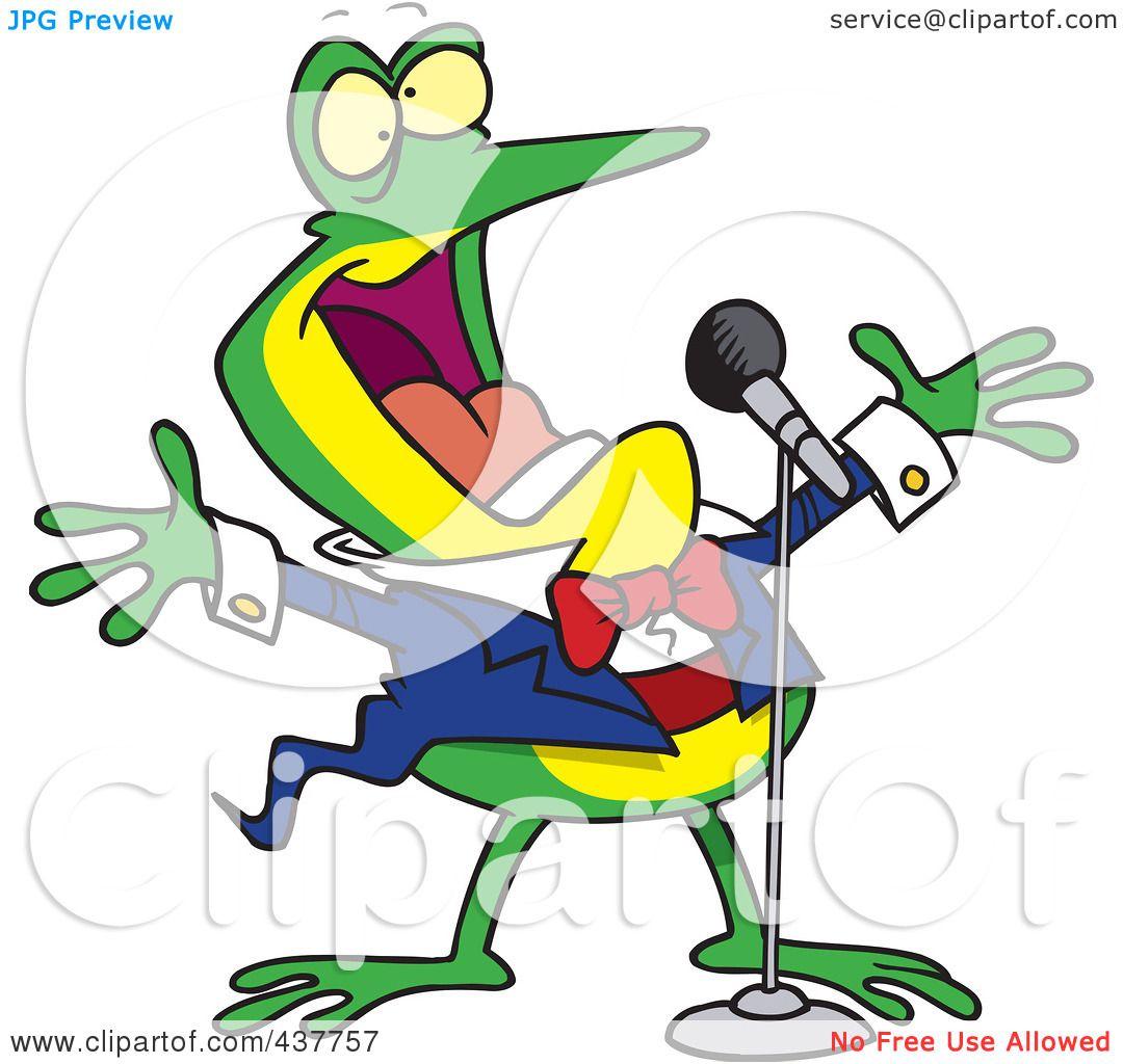 1080x1024 Royalty Free (Rf) Clip Art Illustration Of A Cartoon Tenor Frog