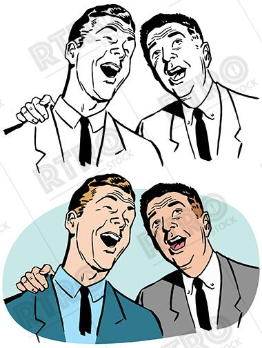 380x504 A Pair Of Businessmen Sing A Song Together Vintage Retro Clip Art