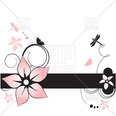 400x400 Floral Summer Card With Insects And Curls Royalty Free Vector Clip