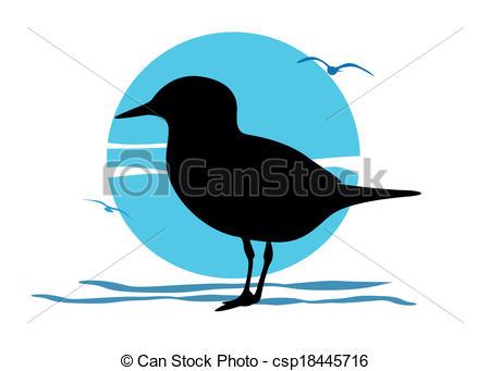 450x341 Silhouette Of Seagull On Sea Sunrise, Vector Vector Clip Art