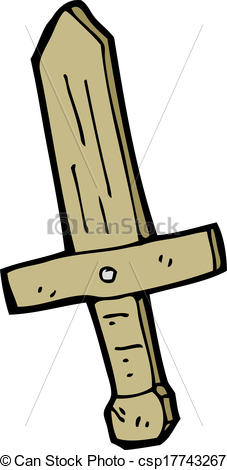 227x470 Cartoon Wooden Sword Clip Art Vector