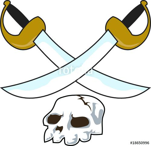 500x484 Pirate Sword Clip Art Skull With Two Crossbones Pirate Swords