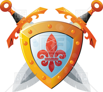 400x357 Beautiful Knight Shield With Two Crossed Swords Royalty Free