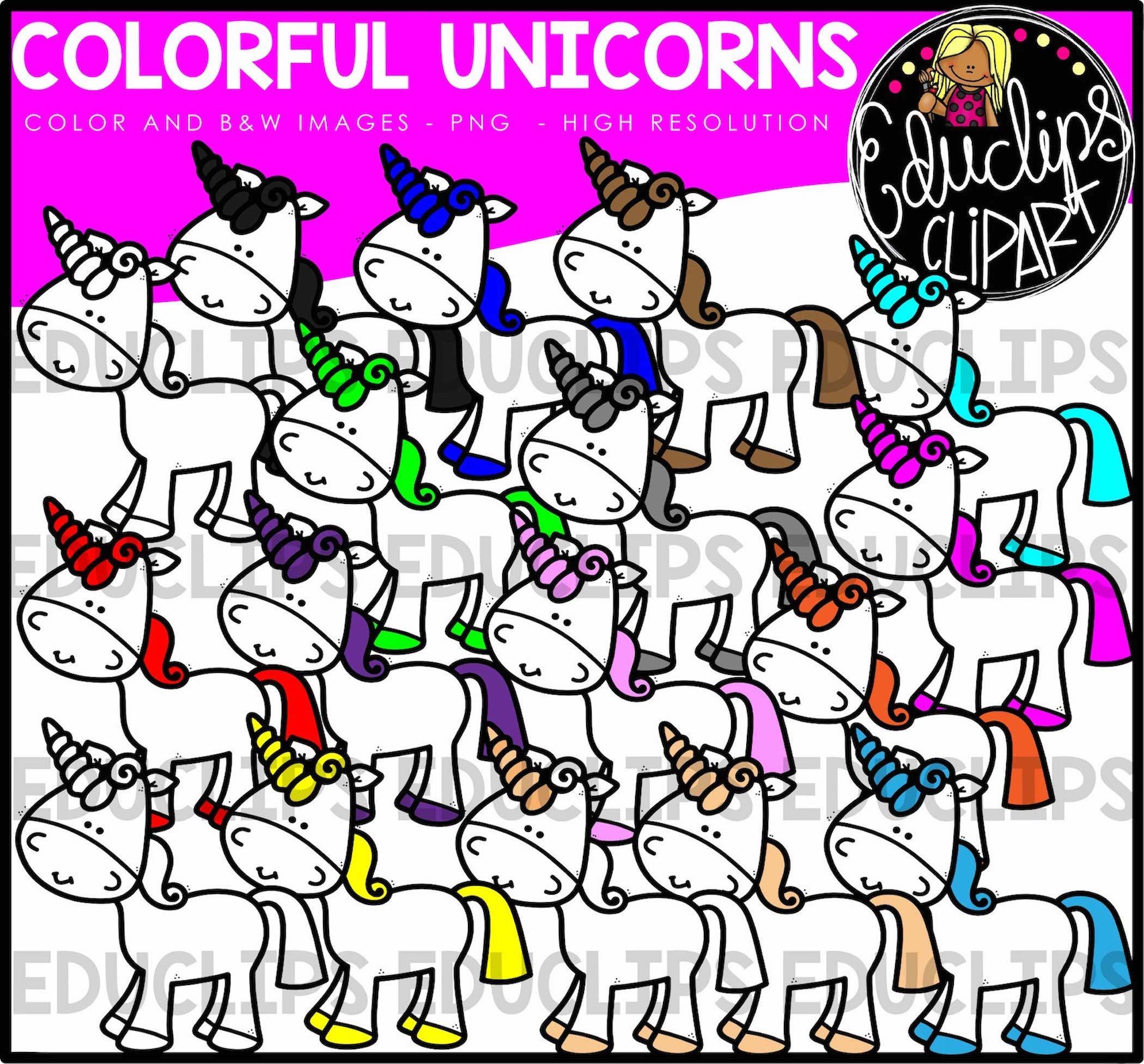 2100x1953 Colorful Unicorns Clip Art Bundle (Color And Bampw)