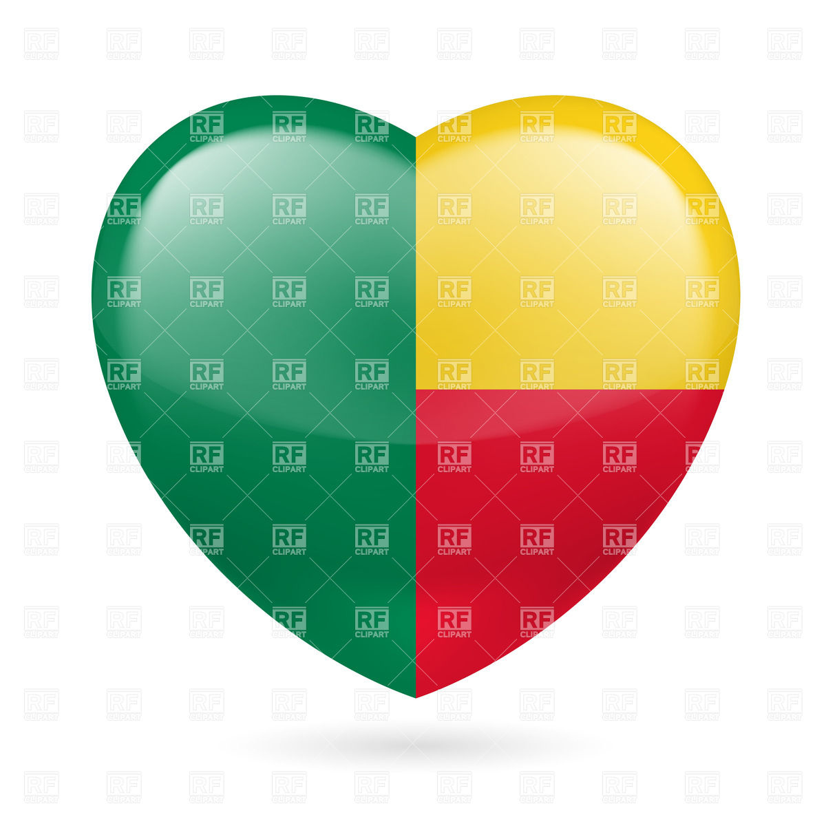1200x1200 Heart With Beninese Flag Colors. I Love Benin Royalty Free Vector