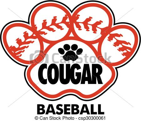 450x385 Cougar Baseball Design With Stitches Inside Paw Print Clip Art