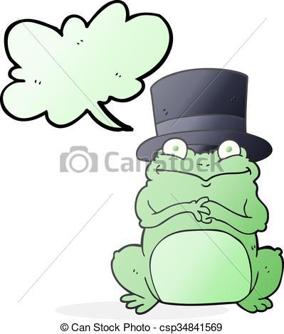 399x470 Freehand Drawn Speech Bubble Cartoon Frog In Top Hat Clip Art
