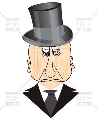 320x400 Sad Man In Top Hat Royalty Free Vector Clip Art Image