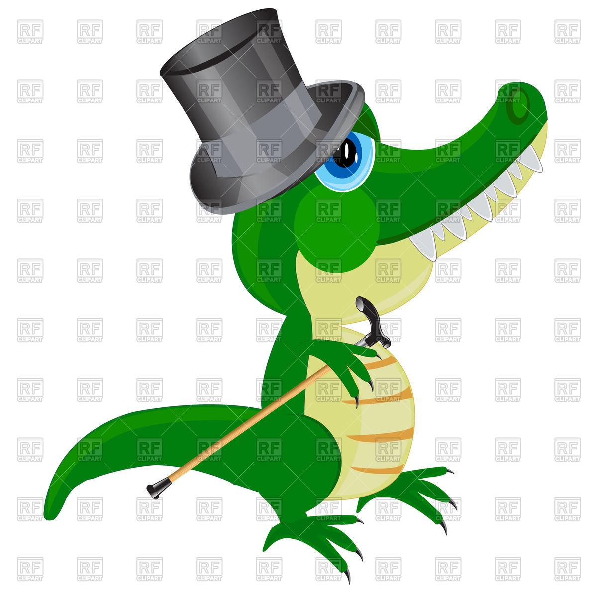 1200x1200 Cartoon Crocodile In Top Hat Royalty Free Vector Clip Art Image