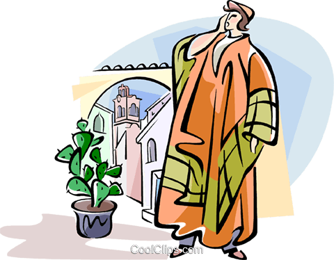 480x374 Spanish Town Crier Royalty Free Vector Clip Art Illustration