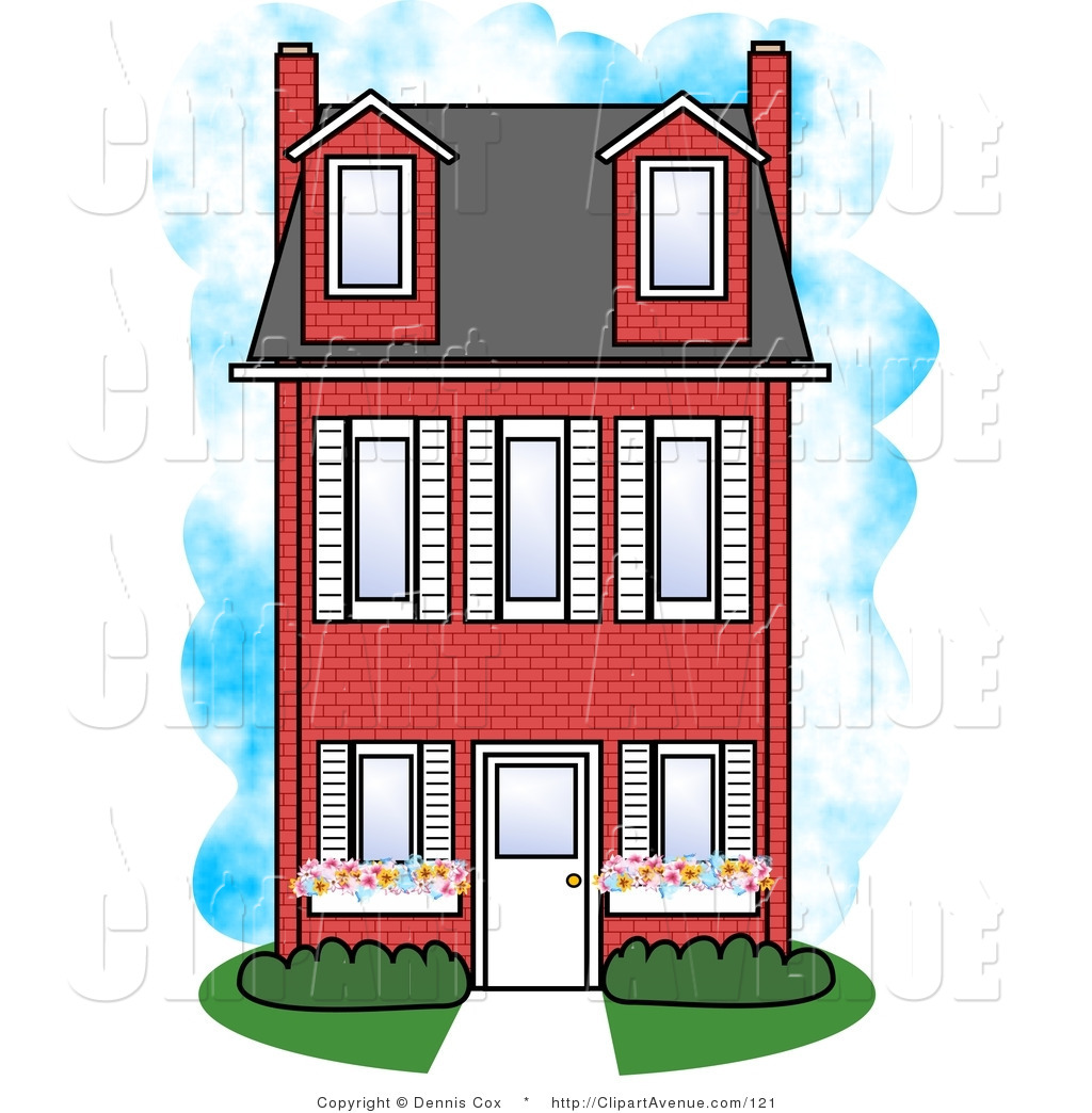 1024x1044 Avenue Clipart Of A Large Three Story Red Brick Townouse By Djart