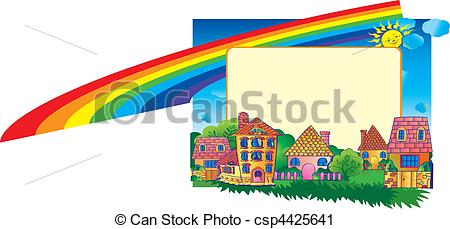 450x229 Beautiful Town. Place For Sample Text. Fairy Tale. Vector