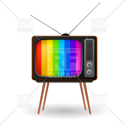 400x400 Retro Tv Set With Striped Stand By Screen Royalty Free Vector