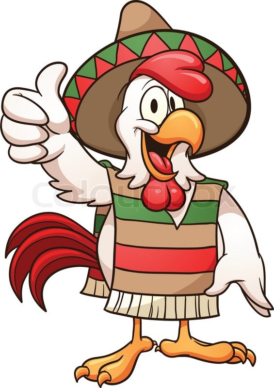 565x800 Cartoon Mexican Chicken. Vector Clip Art Illustration With Simple