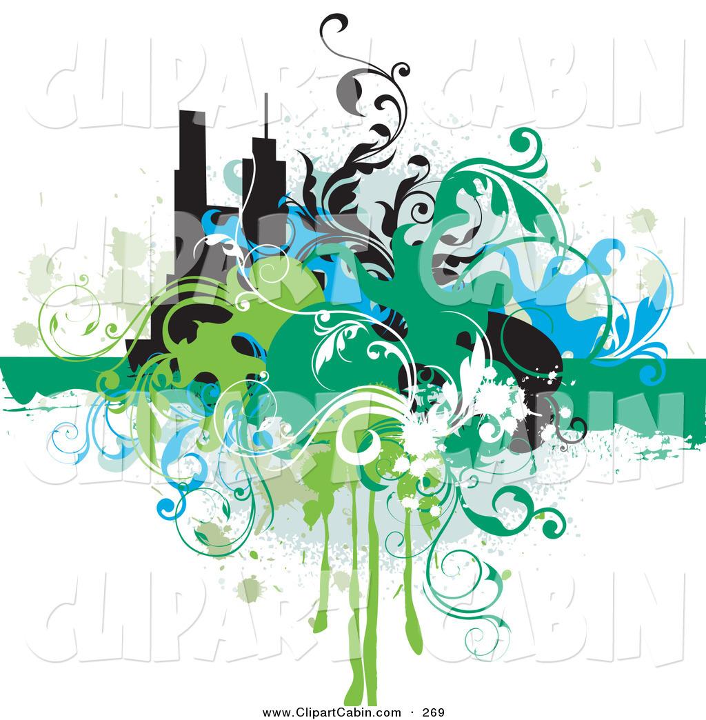 1024x1044 Vector Clip Art Of A Splattered Grunge Background Of Blue, Green