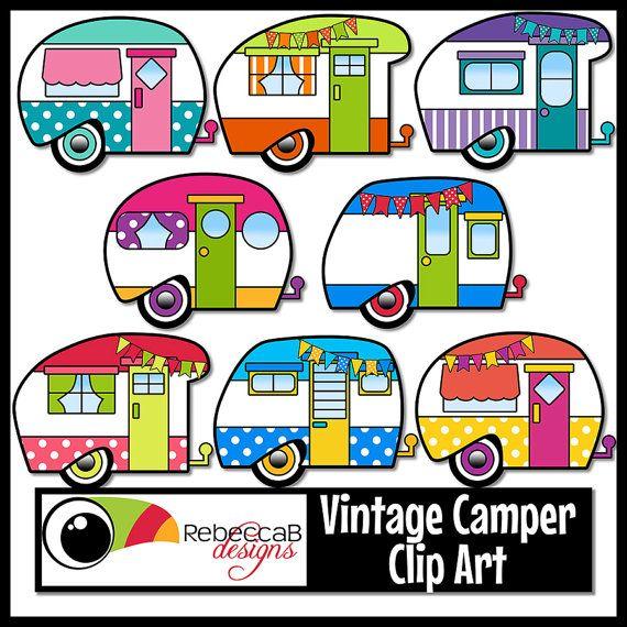 570x570 Vintage Camper Clip Art, Retro Camper Clipart, Vintage Trailer
